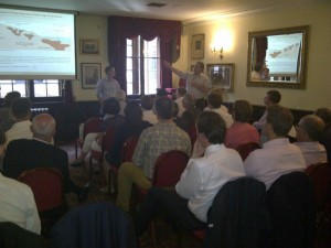 Andrew Tunningley (left) and Chris Wilson from Exploration Alliance addressing the audience.